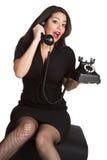 Pinup Telefon-Frau stockfotografie
