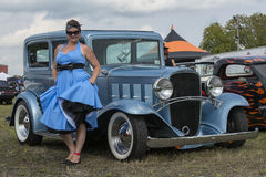 Pinup with vintage car Stock Photos