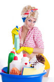 Pinup woman with cleaning set Stock Image