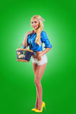 Pinup woman holding a bag Royalty Free Stock Image