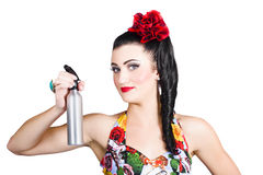 Pinup woman holding a cleaning spray bottle Royalty Free Stock Image