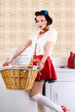 Pinup woman in the laundry Royalty Free Stock Photos