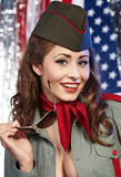 Pinup woman in military clothing Stock Photo