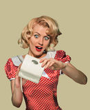 Pinup woman and purse Stock Photo