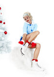 Pinup woman in winter style with skates. Royalty Free Stock Photos