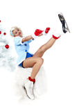 Pinup woman in winter style with skates. Royalty Free Stock Photo