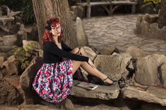 Pinup Young Woman In Vintage Style Clothing Stock Images