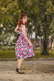 Pinup young woman in vintage style clothing Royalty Free Stock Image