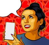 Pinupmeisje met Smartphone Mooie vrouw die op de vertoning van haar telefoon tonen Vector illustratie Harten op de achtergrond SP royalty-vrije stock foto's