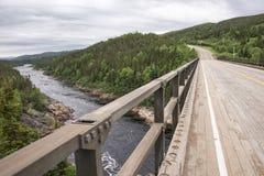 Pinware River in Labrador, Canada. Labrador, Canada - Summer 2014. View of Pinware River from a wooden bridge in Pinware Provincial Park, Labrador, Canada Royalty Free Stock Photos