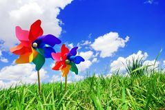 Pinwheel. On the meadow at sunny day Royalty Free Stock Image
