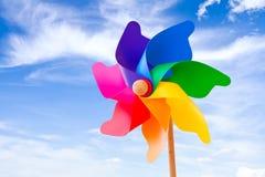 Pinwheel. Color pinwheel toy against summer sky Stock Photos