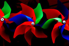 Pinwheel. Tricolored pinwheel,Having three colors,red green and blue Royalty Free Stock Images