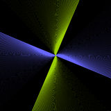Pinwheel. A fractal with rays of blue and green twisting and radiating ou like a pinwheelt from the central core vector illustration