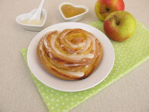 Pinwheel with apple sauce and sugar icing Royalty Free Stock Images
