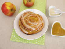 Pinwheel with apple sauce and sugar icing Royalty Free Stock Photography