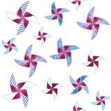Pinwheel bezszwowy wzór z akwarelą na białym tle Zdjęcia Royalty Free