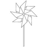 Pinwheel. Children`s toy rotating in the wind. Spinner in the style of the line. Royalty Free Stock Photography