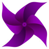 Pinwheel. Childs purple windmill toy isolated on white background Royalty Free Stock Images