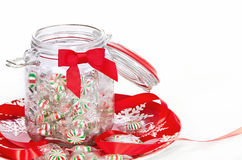 Pinwheel Christmas candies in a jar Royalty Free Stock Photo