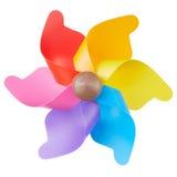 Pinwheel, colorful toy on white Royalty Free Stock Photos