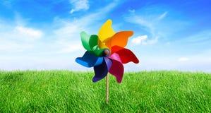 Pinwheel de pré dans le vent images stock