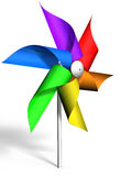 Pinwheel with a rainbow colored wheel, rendered in 3D Stock Photo
