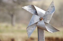 Pinwheel from sheet. Homemade pinwheel of sheet metal is ugly and dysfunctional royalty free stock photos