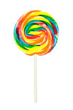 Pinwheel sucker. A candy pinwheel sucker isolated on a white background Stock Photo