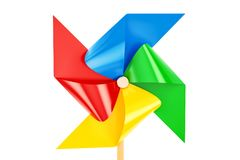 Pinwheel toy closeup, 3D rendering. Isolated on white background Royalty Free Stock Photos