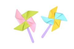 Pinwheel toy paper cut on white background Royalty Free Stock Image