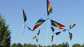 Pinwheel windmill with 3 differently colored vanes stock video