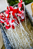 Pinwheels. A basket of red and white pinwheels Royalty Free Stock Photography