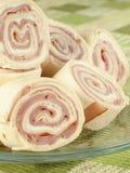 Pinwheels del jamón y del queso fotos de archivo