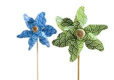 Pinwheels. Green pinwheels on a white background Royalty Free Stock Photo