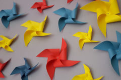 Pinwheels. Multicolored party pinwheels Stock Images