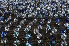 Pinwheels for the Prevention of Child Abuse America. Roanoke, VA – April 3rd, 2018: April is child abuse prevention month, sponsored by Children Trust Roanoke Stock Photo