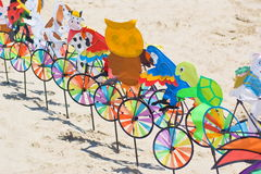 Pinwheels. Some pinwheels on the beach Stock Photography