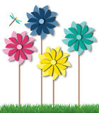 Pinwheel Spinners in Summer Grass Royalty Free Stock Images