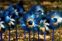 Pinwheels. Spinning in a garden on a windy day Stock Images