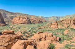 Pinyon caché donnent sur, le parc d'état de canyon de neige, UT Photo libre de droits