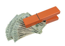 Pinza que sostiene una fan del dinero Imagen de archivo libre de regalías