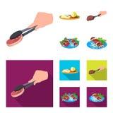 Pinzas con el filete, carne frita en una cucharada, cortando el limón y aceitunas, kebab en una placa con las verduras Comida y libre illustration