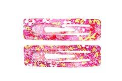 Pinzas de pelo rosadas Imagen de archivo