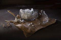Pinzas viejas para el azúcar de terrón y el cuenco de azúcar del vidrio que parten con l imagen de archivo