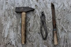Pinze e raspa del martello Fotografie Stock