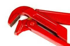Pinze rosse della pompa idraulica isolamento Immagine Stock
