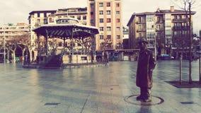 Pio Baroja Sculpture Outdoors. Baroja famous writer Sculpture at Irun Basque Country Spain Stock Photography