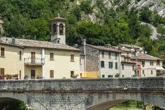 Piobbico, ancient bridge. Piobbico (Pesaro Urbino, Marche, Italy) - Ancient bridge Stock Photo