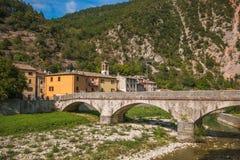 Piobbico medieval village with old bridge Royalty Free Stock Photos